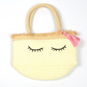 WENZHE Handmade Summer Straw Bags Tassel Smiley-face Women Handbags Beach Tote Bag
