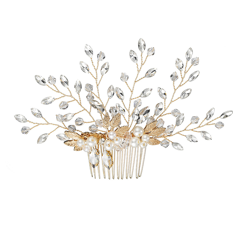 WENZHE fancy crystal bridal flower hair accessories pearl rhinestone wedding hair comb Featured Image