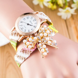 Ethnic style gradient color pearl bow woven love watch
