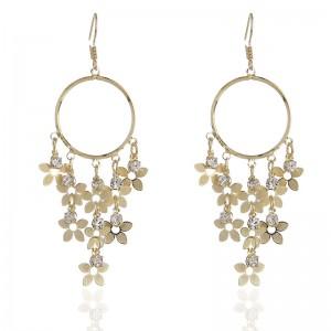 WENZHE Fashion long fringed zircon earrings temperament metal big ear ring flower earrings