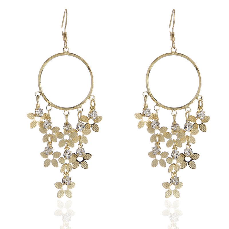 WENZHE Fashion long fringed zircon earrings temperament metal big ear ring flower earrings Featured Image