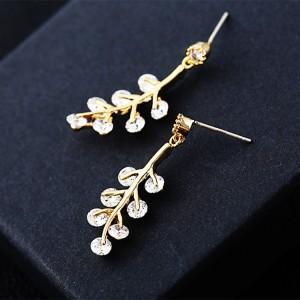 New cute fresh leaves earrings Simple s925 silver needle earrings Stylish personality zircon earrings