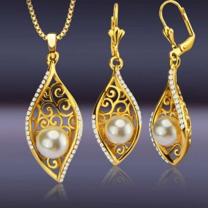 Fashion bride pearl copper plated 18K gold zircon leaves hollow Dubai necklace earrings two-piece jewelry set