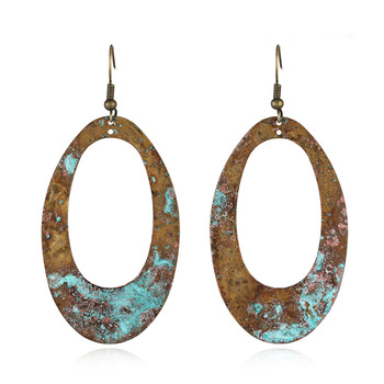 Vintage Copper Blue Patina Oval Hollow Dangle Earring Featured Image