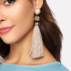Hot Selling Handmade Chinese Knot Long Tassel Earring Jewelry for Women