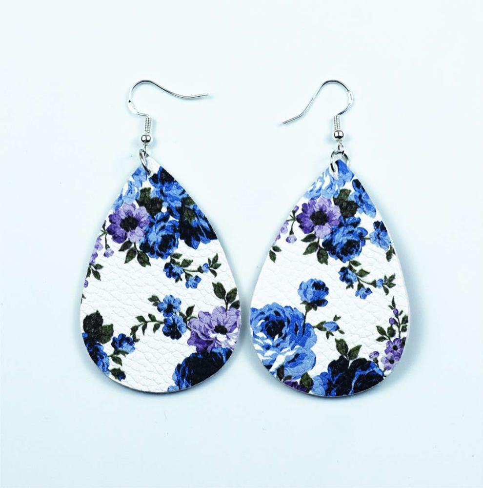 Fashion-pu-earrings-drop-shape-rose-pattern