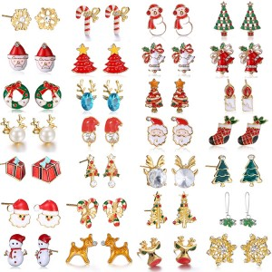 High quality factory direct Christmas earrings Elk Christmas tree earrings cartoon bell Santa Claus earrings