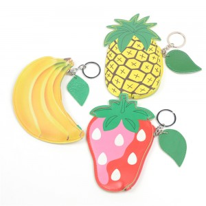 WENZHE Cartoon Fruit PU Pouch Keychain Women Wallet Coin Bag