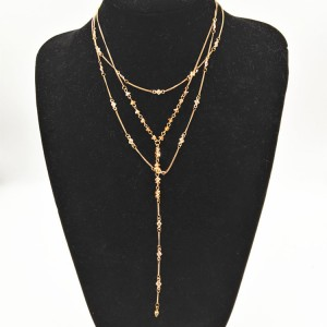New Fashion Custom Dainty Gold Plated Crystal Beaded Multilayer Chain Women Necklace