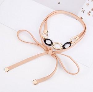 Long Leather Double Wrap Choker Boho Necklace Women Party Accessory