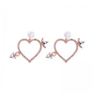Rose Gold Pearl Heart Stud Earrings Jewelry 2019 Jewelry Gifts