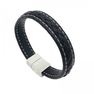 Custom Mens Wholesale Black Braided Leather Bracelet