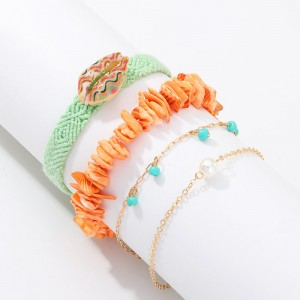 WENZHE fashion popular beach accessories hand-woven colorful gravel stone shell bracelet set