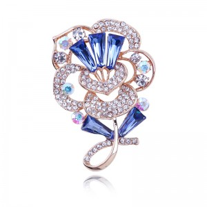 WENZHE custom jewelry ladies blue crystal gold plated brooch