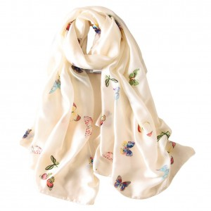 Women's classic silk ornate butterfly print long scarf shawl