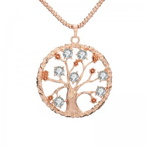 Newest Round Hollow Tree Of Life Necklace Fashion Flower Crystal Tree Of Life Pendant Necklace Women Garment Accessories