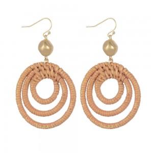 WENZHE Boho Three Circles Weave Rattan Handmade Bamboo Earrings
