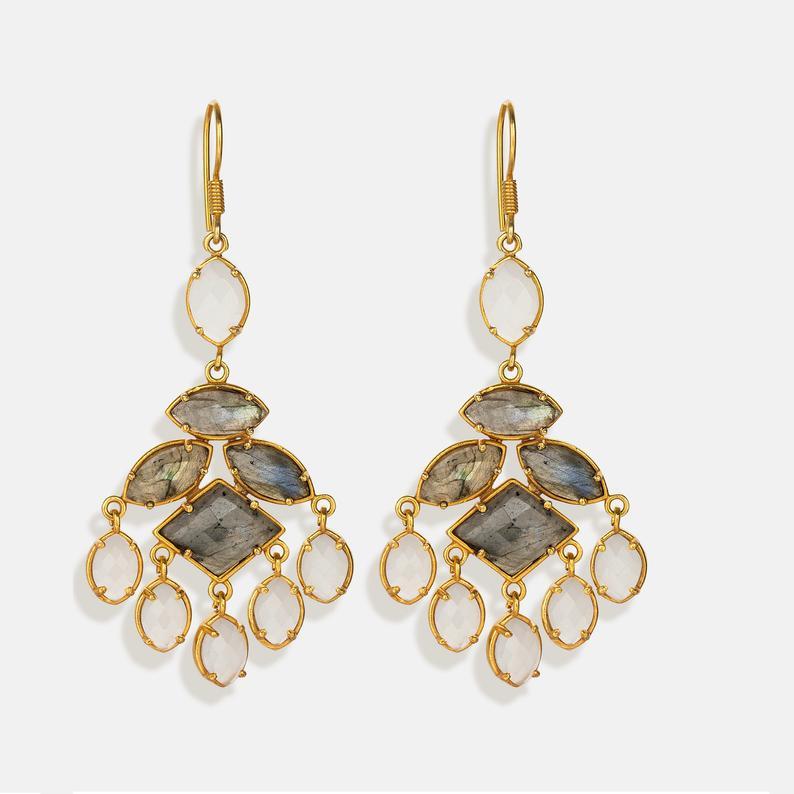 Smoky Grey Chandelier. Chalcedony earrings.Smokey Cluster.Labrodorite Earrings.Fall Earrings. Featured Image