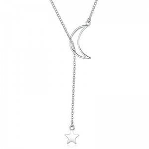 New Fashion 925 Sterling Silver Moon and Star Tales Chain Link Pendant Necklaces for Women Jewelry