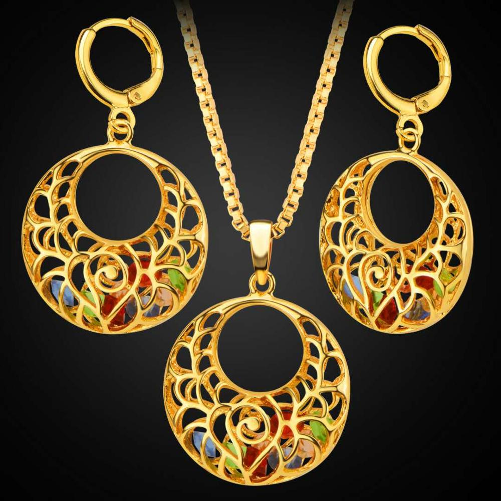 Dubai fashion copper plated 18K gold round hollow color diamond necklace earrings jewelry set Featured Image