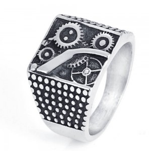 Unique Square Gear Man Ring Party Jewelry Punk Vintage Silver Rings for Men