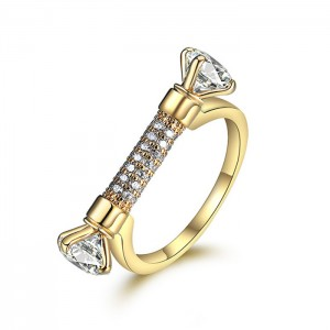 New Style 24K Gold D Shape AAA Cubic Zirconia Paved Wedding Ring