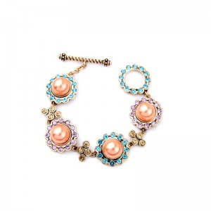 Vintage Colorful Crystal Alloy Cute Young Girls Lovey Pearl Anchor Bracelet