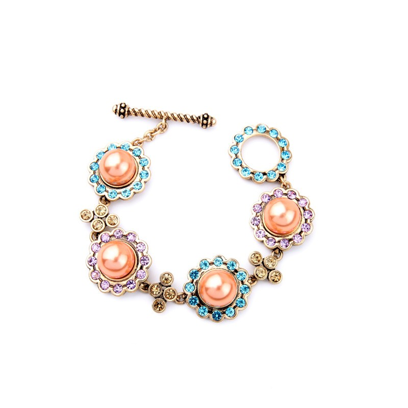 Vintage Colorful Crystal Alloy Cute Young Girls Lovey Pearl Anchor Bracelet Featured Image