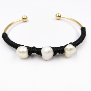 Newest Design Gold Plated Pearl Black Rope Wire Wrap Cuff Bracelet