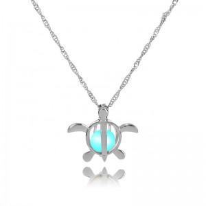 Tortoise glow chunky stone glowing crystal necklace