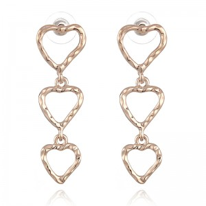 WENZHE new copper metal texture groove love heart earrings