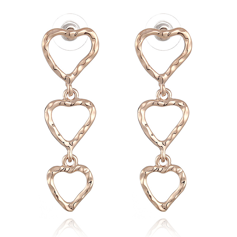 WENZHE new copper metal texture groove love heart earrings Featured Image