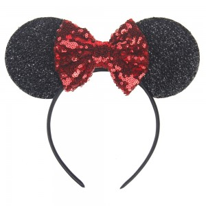 European and American Cute Mouse Ears Headband with Glitter Bow Baby Girl Headband