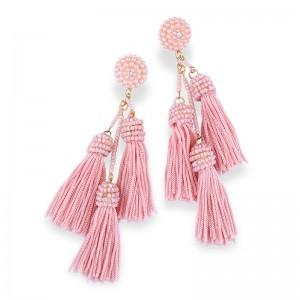 Latest Handmade Layered Pure Color Long Tassel Seed Beads Earrings For Women