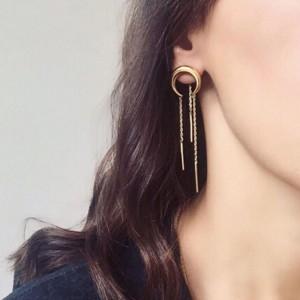 Gold plated horn shape earring metal crescent chain tassel earrings