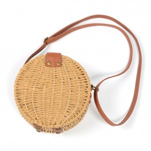 WENZHE Ladies Straw Bags Handwoven Round Rattan Retro Handbags Beach Crossbody Bag Tote
