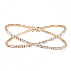 Trend Dubai Wedding Bridal Shining Crystal Cup Chain Gold Bracelet