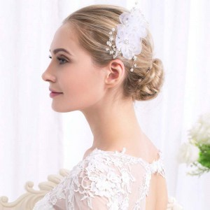 Creative fashion lace flower pearl bride gift wedding alloy headdress hair comb