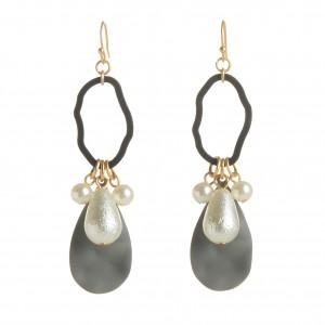 WENZHE Newest Designs Geometric Acrylic Pearl Dangle Earring