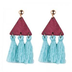 Hot Fashion Wooden Triangle Silk Thread Tassel Earrings For Women Jewelry
