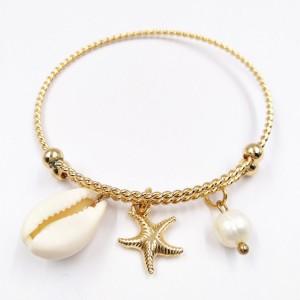 Wholesale Starfish Shell Pearl Bracelet Fashion Ladies Gold Bangle Jewelry
