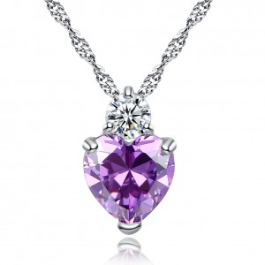 Sparkly Sparkle Heart Cut Purple Cubic Zirconia Crystal Pendant Necklace For Girls Gifts