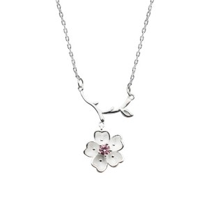S925 Sterling Silver Clavicle Chain With Single Diamond Sakura Pendant Necklace Female