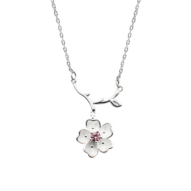 S925 Sterling Silver Clavicle Chain With Single Diamond Sakura Pendant Necklace Female Featured Image