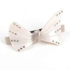 WENZHE Fashion White Acrylic Crystal Bowknot Hair Clip Barrettes For Women