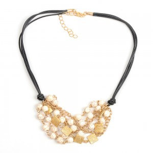 WENZHE Hot Sale Women Short Cord White Beads Necklace