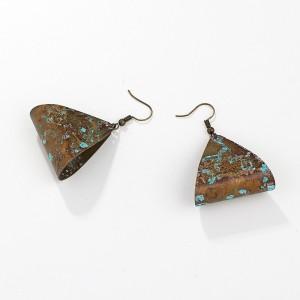 Fashion geometric triangle hollow earrings temperament old metal earrings eardrop female