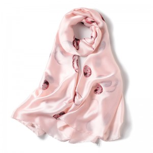 WENZHE New Arrival Fashion Ladies Pink Silk Plain Colors Long Shawl Scarf