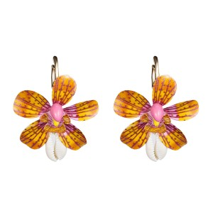 WENZHE New style beautiful hand made pink spray paint flower seashell drop earrings