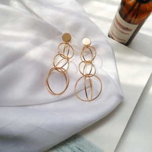 New designs gold tone big multi layer circles statement earrings